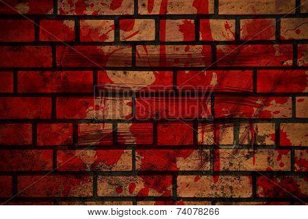 Blood Splash On Brick Wall