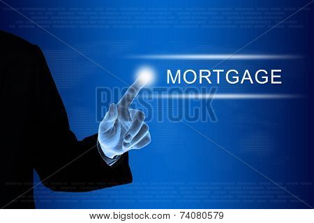 Business Hand Clicking Financial Mortgage Button On Touch Screen