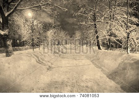 Winter Night Snowy Street With Moon In Retro Style, Aged Photo