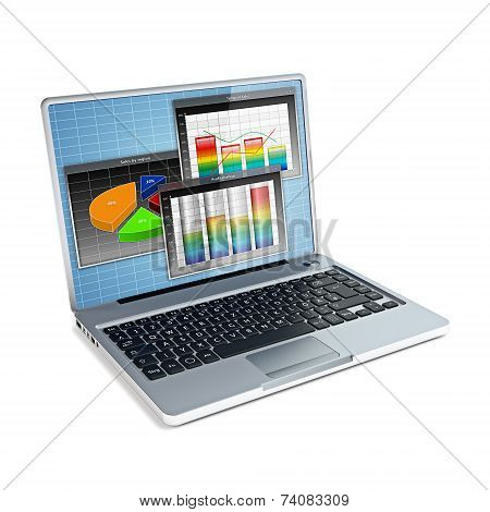 Laptop With Business Bar Graph