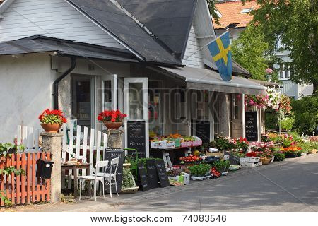 Typical Swedish Shop with flowers