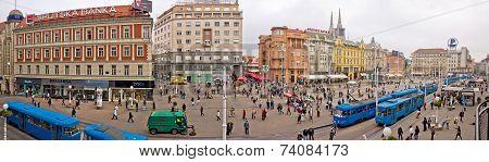 Zagreb Main Square Aerial Panorama