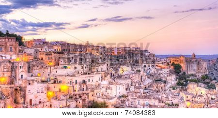 View Of Matera At Sunset, Italy, Unesco European Capital Of Culture 2019