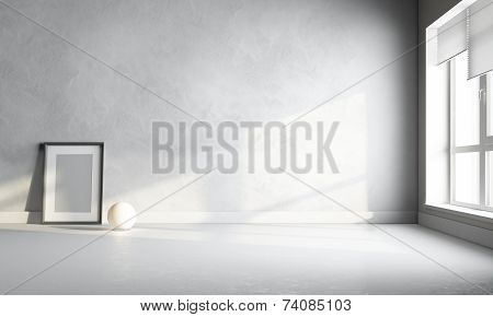 3D White Room With Frame