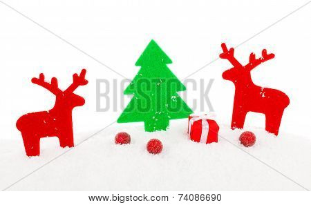 Red Christmas Deer, Xmas Decoration With Copy Space