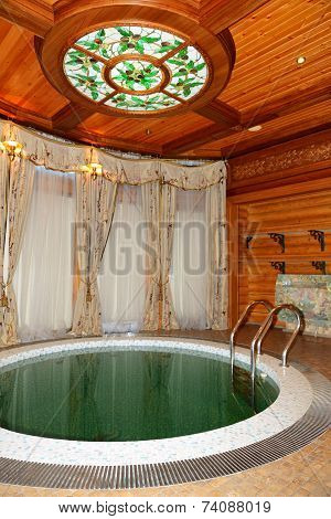 Novi Petrivtsi, Ukraine - October 14: The Sauna Interior In Mezhigirya On October 14, 2014 In Novi P