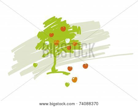 Vector Stylized Drawing Of Apple Tree With Ripe Fruits