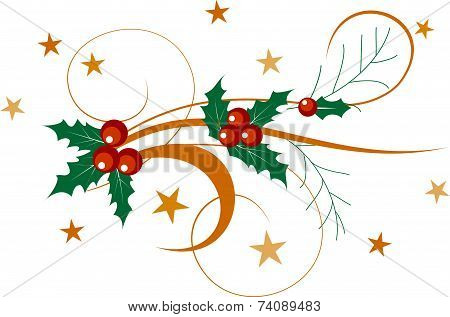 Illustration Of A Holly Berries And Decorative Branch