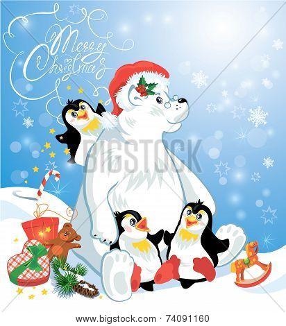 Card With Funny Penguins And Polar Bear With Presents On Blue Snow Background, Cartoons For Winter,