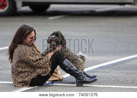 Woman & her new friend