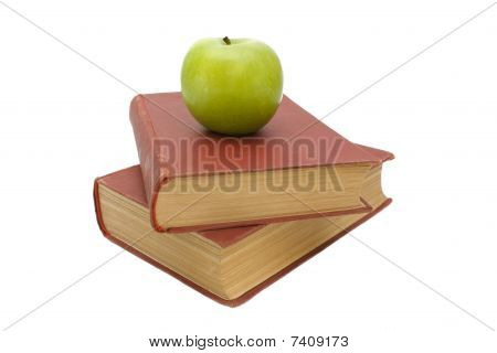 Books And Green Apple