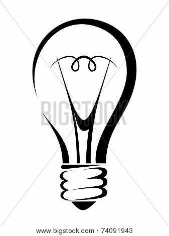 Light bulb. Vector black silhouette.
