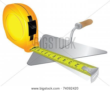 Construction Measuring Tape And Trowel