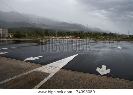 rainy road in the mountains