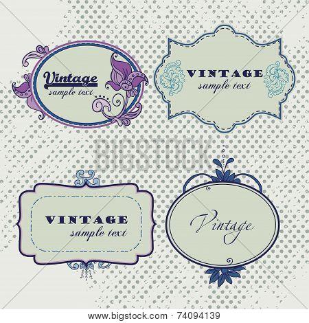 Vector Vintage frames. Scrapbooks tags