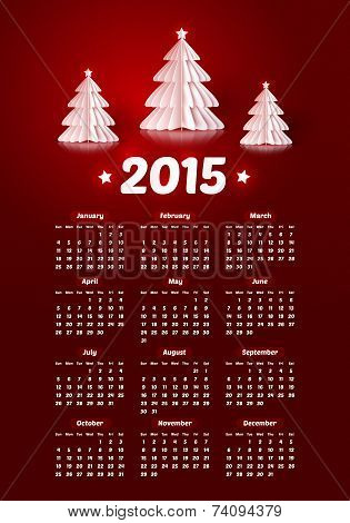Vector 2015 new year calendar with realistic paper Christmas trees