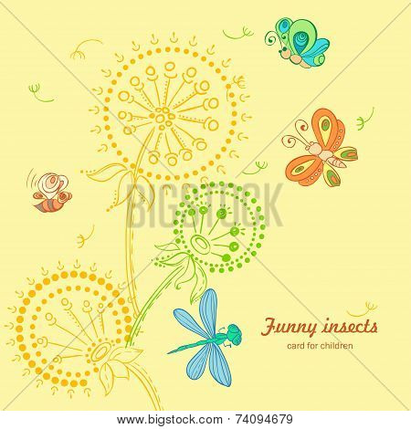 Vector nice Card with Fun insects