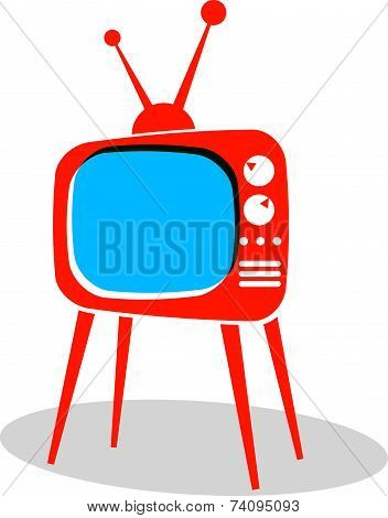 Retro TV set icon. Television simple illustration