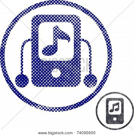 Mp3 player icon with halftone dots print texture. Macro newspaper style symbol.