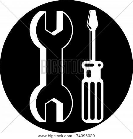 Black and white repair icon with wrench and screwdriver