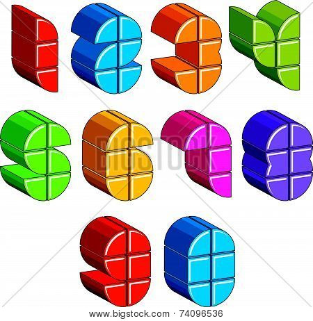 3d futuristic numbers set, colorful numerals for advertising and web design.