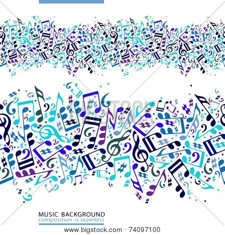 Colorful horizontal music canvas, seamless tape with striped musical notes on white background.