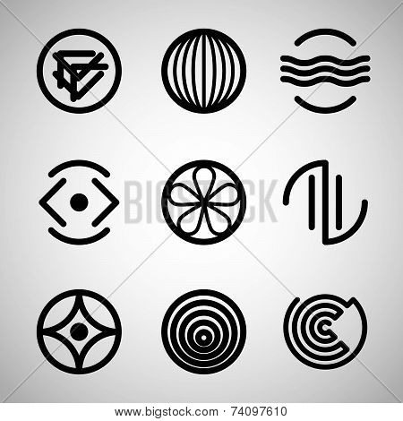 Abstract symbols set. Creative design elements, for use in web design.