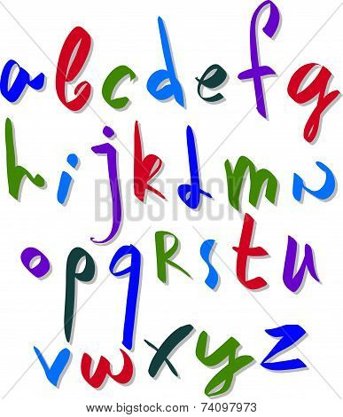 Hand written fresh font, stylish drawn alphabet letters set.