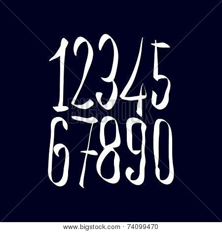 Contemporary handwritten white digits, vector numerals isolated on dark backdrop.