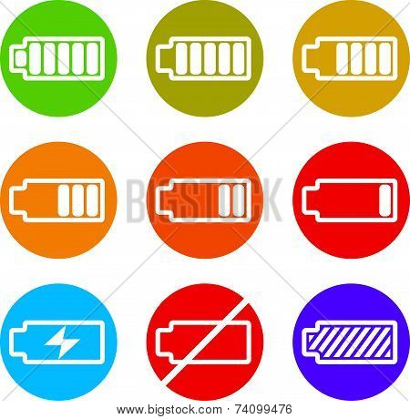 Battery charge indicator icons set, simplistic symbols collection.