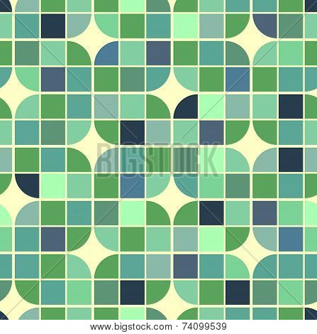 colorful interlacing geometric background, illusory squared abstract seamless pattern.