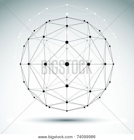 Abstract geometric 3D wireframe object, modern digital technology and science theme illustration