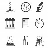 image of microbiology  - Set of black silhouette vector icons with elements for microbiology laboratory research on white background - JPG