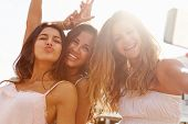 picture of 15 year old  - Three Teenage Girls Dancing And Taking Selfie - JPG