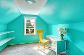 stock photo of vault  - Small bright turquoise room with vaulted ceiling and shelves attached to the wall - JPG