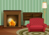 foto of floor heating  - Illustration of a living room with fireplace - JPG