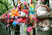 picture of abort  - Jizo statues at shinto temple - JPG