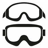 Постер, плакат: Silhouette symbol of Classic snowboard ski goggles