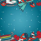 stock photo of sled  - Winter seamless border with bullfinches and sleds mittens cap skates - JPG