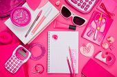 pic of girly  - Girly pink desktop and stationery with blank notebook and pencil - JPG