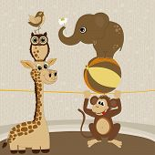image of arena  - Card with cute animals on arena of circus - JPG