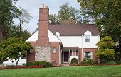 picture of manicured lawn  - House with Large Fireplace Chimney - JPG