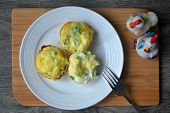 stock photo of green onion  - Egg muffins with chicken breast - JPG