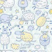 image of counting sheep  - Funny cartoon sheep in the sky  - JPG