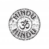 foto of dharma  - Black grunge rubber stamp with om aum symbol and the word hindu written inside the stamp - JPG