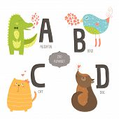 image of gator  - Cute vector zoo alphabet with cartoon animals isolated on white background - JPG