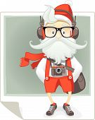 stock photo of bohemian  - Vector cartoon of Santa Claus in stylish hipster outfit with eyeglasses - JPG