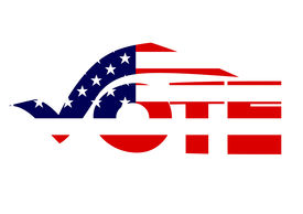 picture of superimpose  - The word vote written in a creative script with an American flag superimposed over it isolated on a white background - JPG