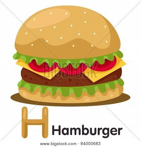 Illustrator of H font with hamburger