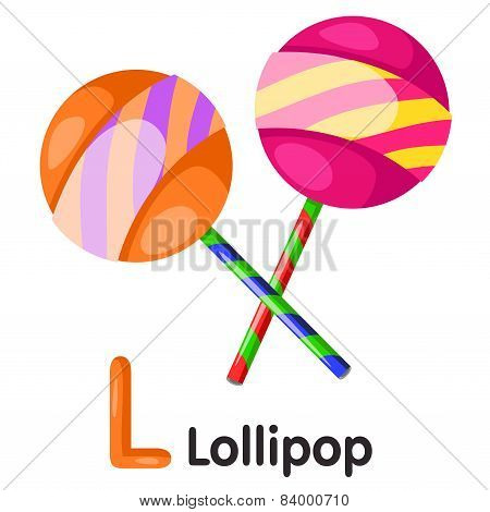 Illustrator of L font with lollipop